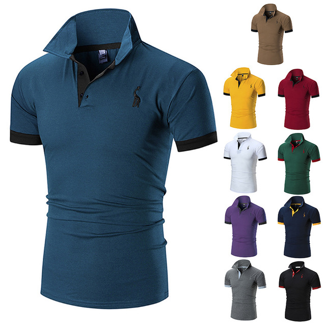 Summer Short Sleeve Solid   Polo   Shirt Men Print Slim Casual   Polos   Breathable Embroidery Purple Green Yellow Shirt Men's Clothing