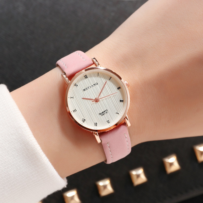 New 2018 Womens Watches Fashion Casual Womens Simple Style Quartz Leather Strap Wristwatch Ulzzang Women Watch