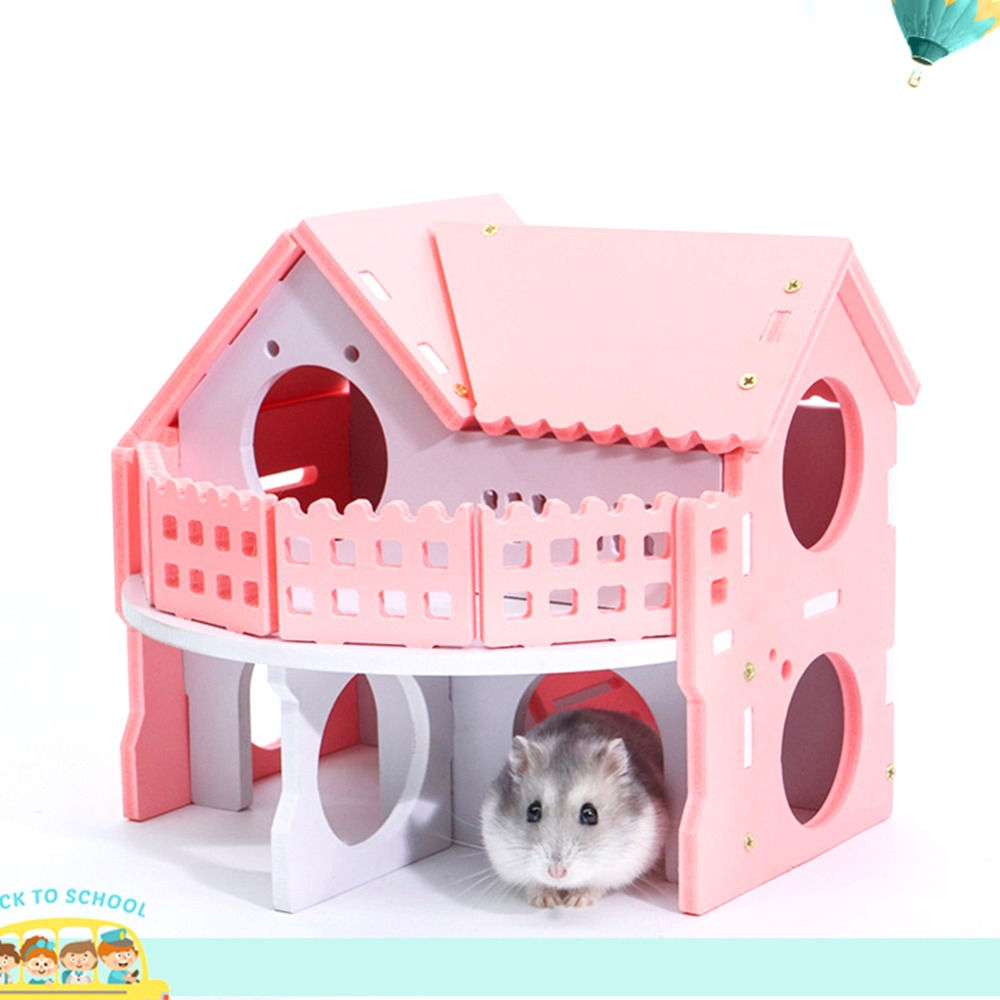 1pcs Luxurious Hamster House Swing Toy Slide Hamsters Nest Loft Bed