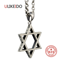 Pure 925 Sterling Silver Jewelry Star Charms Punk Pendants For Men And Women Thai Silver Necklace