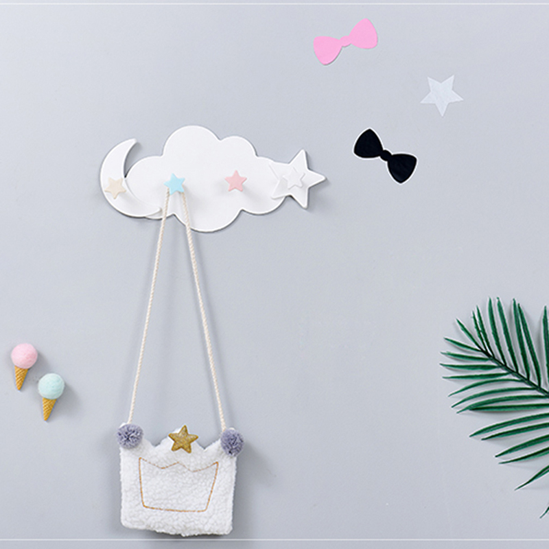 4 Hooks Cup Holder Creative Star Moon Cloud Shape Nail-free Hat Clothes Hooks Shelf Hanging Hanger 2019 Hot Sale