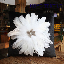 Modern Fashion Luxury Handmade Decorative Animal Bird Feather Bead Fleece Base Sofa 3D Cushion Cover Throw Pillow Cover Case