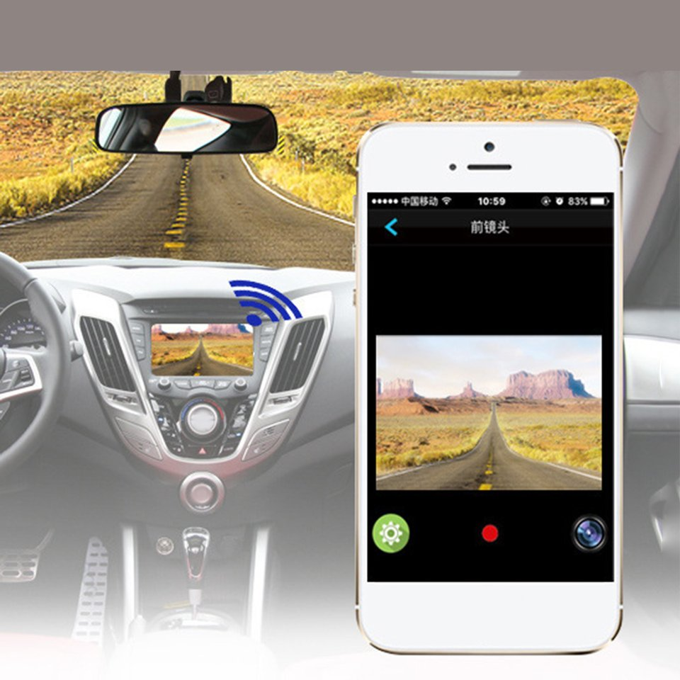 1/2 Lens Portable Car Camera Recorder WiFi Connection Car Video Recorder Monitor Full HD 1080P Vehicle Camcorder Car Tachograph ...