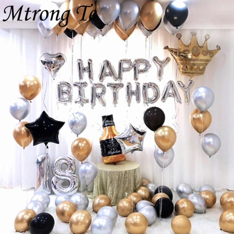 26pcs 30 inch silver Number Foil Balloons Metallic Air balls Wine bottle Crown <font><b>18th</b></font> Anniversary happy <font><b>birthday</b></font> Party <font><b>Decoration</b></font> image
