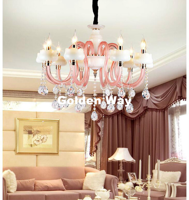 European Modern Little Living Room Chandelier Bedroom Lamp Lighting Pink White Jade Shade Crystal Re