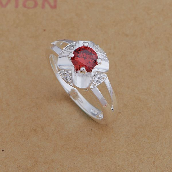 925 Sterling Silver Ring Fashion Jewerly Ring Women&Men red stone/luxury goods /eoyangfa geuaowba AR652