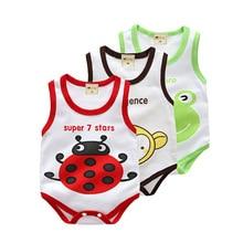 Sleeveless Baby Boys Girls Bodysuit Cotton Cartoon Vest Underwaist Kid Infant Jumpsuits Clothing Triangle Rompers
