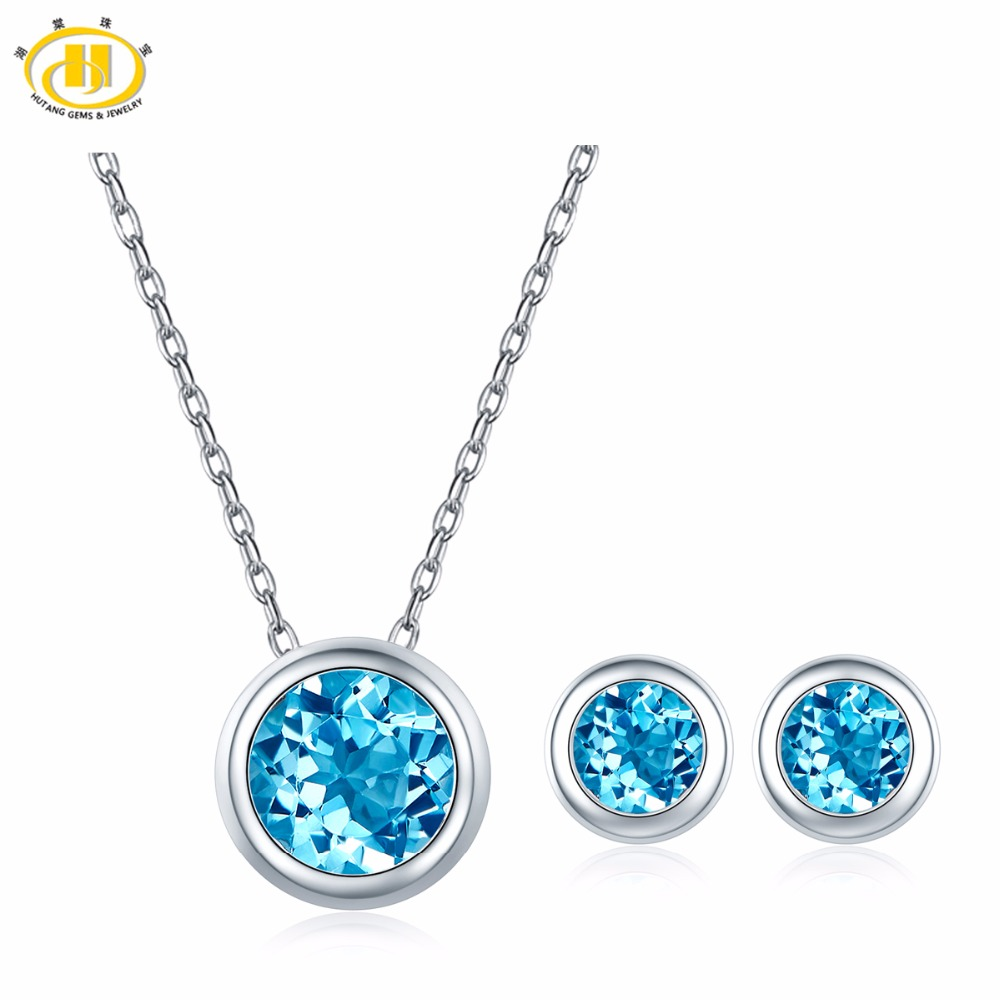 Hutang Blue Topaz Jewelry Sets Pendant Earrings Natural Gemstone Solid 925 Sterling Silver Fine Fashion Jewelry