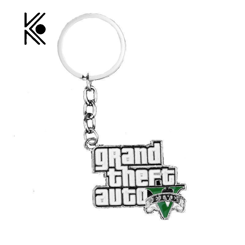 Free Shipping GTA 5 Game 3 d Grand Theft Auto V Logo Pendant Key Chain For Fashionable Of The Present Movie Jewelry