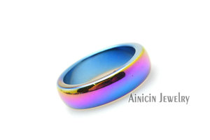 Image 2 - 50pcs Rainbow Color Plated Hematite #6~#10 Ring For Man and Women Fashion Party Jewelry