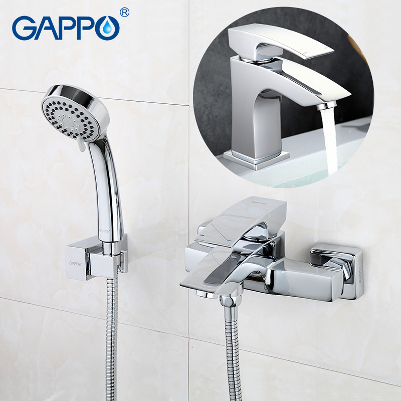 цена на GAPPO sanitary ware bathroom faucets wall mounted bathtub faucet basin faucet chrome tap Bathroom Shower Faucet tap set