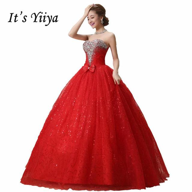 Real Photo Free Shipping Custom Made Red White Sequins Wedding Dresses Bow  Tulle Cheap Bride Gowns Vestidos De Novia 2017 HS091 589482b7d982