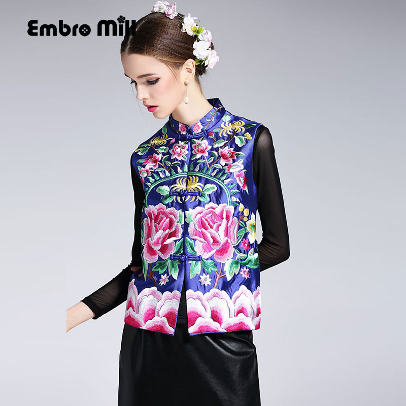 цены High quality women tops autumn embroidery short coat mandarin collar sleeveless slim lady floral vest coat jacket female S-XXL