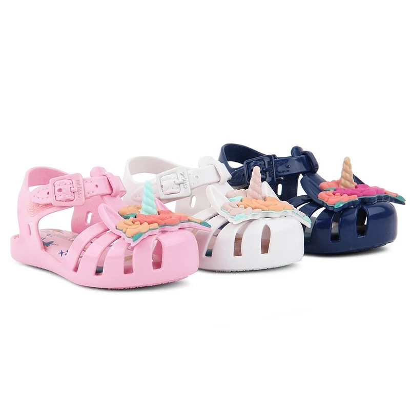 Detail Feedback Questions about Mini Melissa 2018 Unicorn Jelly Sandal  Girls Shoes Summer Jelly Shoe Flower Sandals Fish Mouth Girl Non slip Kids  Sandal ... 7765ed45f