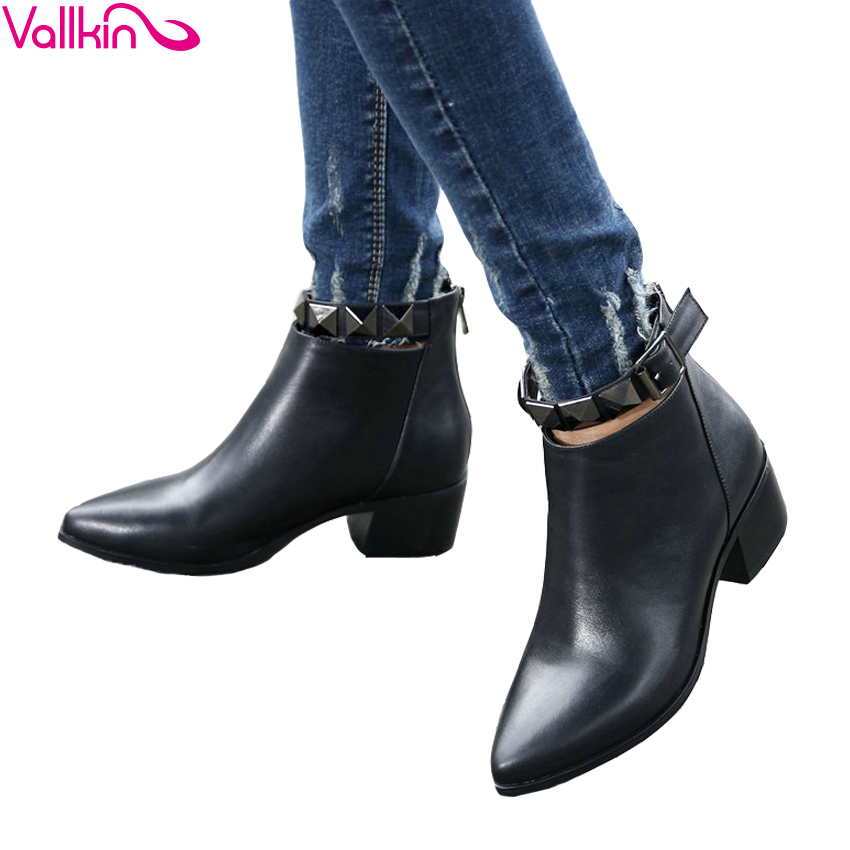 VALLKIN 2018 Women Boots Solid Rivets Zippers Square High Heel Cow Leather+PU Ankle Boots Fashion Ladies Boots Shoes Size 34-39 мф мастер стол компьютерный рикс 46 дуб сонома хром