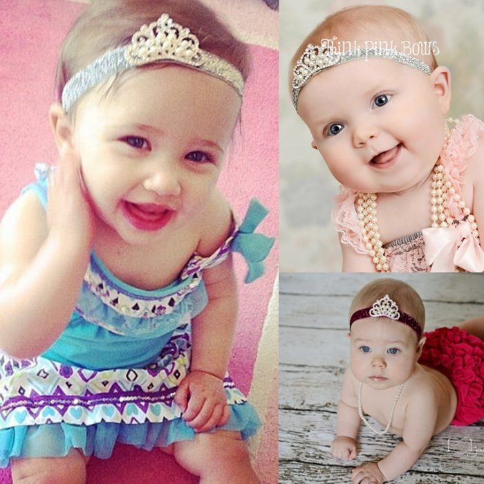 Retail Newborn DIY Shiny Elastic Baby Headbands With Rhinestone Tiara Korean Boutique Girls Hair Accessories With Pearl Crown