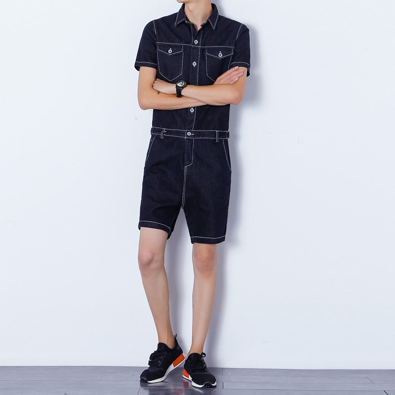 2019 Fashion New Men's Hip Hop Jumpusits Korean Handsome Overalls Casual Men's Short   Jeans   Size M L XL
