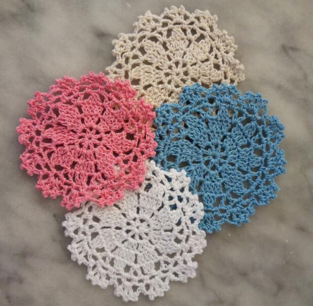 2019 Hot vòng placemat cup coaster cốc nhà bếp Giáng Sinh ra mat bảng vải ren Crochet trà cà phê pan vải lau tay handmade pad