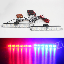 2x6 LED Wireless Remote Strobe Warning Lights 12V Car Work Light  Ambulance Police light Emergency Flashing Super Bright