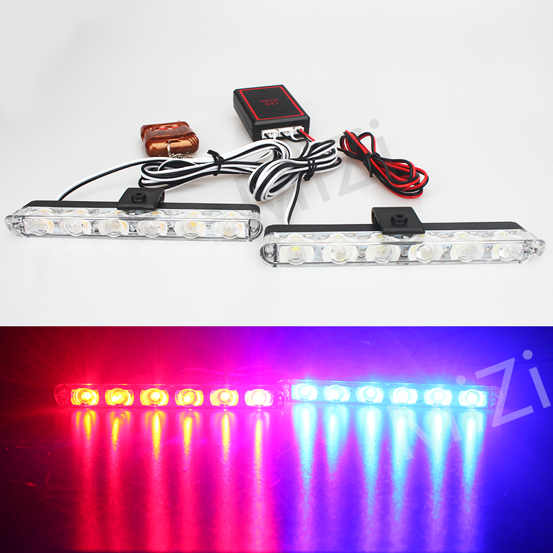 12V Car 2x6LED Ambulance Police light Strobe Warning Lights Work Day Light Emergency Flashing Light Super Bright Wireless Remote ...