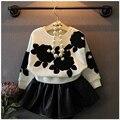 Buenos Ninos 2 Unids/set Baby Girl Clothing Set Niños de Los Niños de la Manga Del Batwing Suéter de la Capa + Falda de La Princesa Dulce de Cuero Twinset