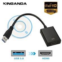 Adaptador de HDTV con pantalla de Monitor múltiple, Cable de tarjeta gráfica de vídeo externa, USB 3,0 a HDMI 1080P, convertidor de Cable adaptador