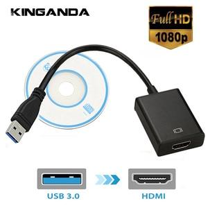 Image 1 - USB3.0 HDMI Multi תצוגת צג HDTV מתאם חיצוני וידאו גרפי כרטיס כבל USB 3.0 כדי HDMI 1080P מתאם כבל ממיר
