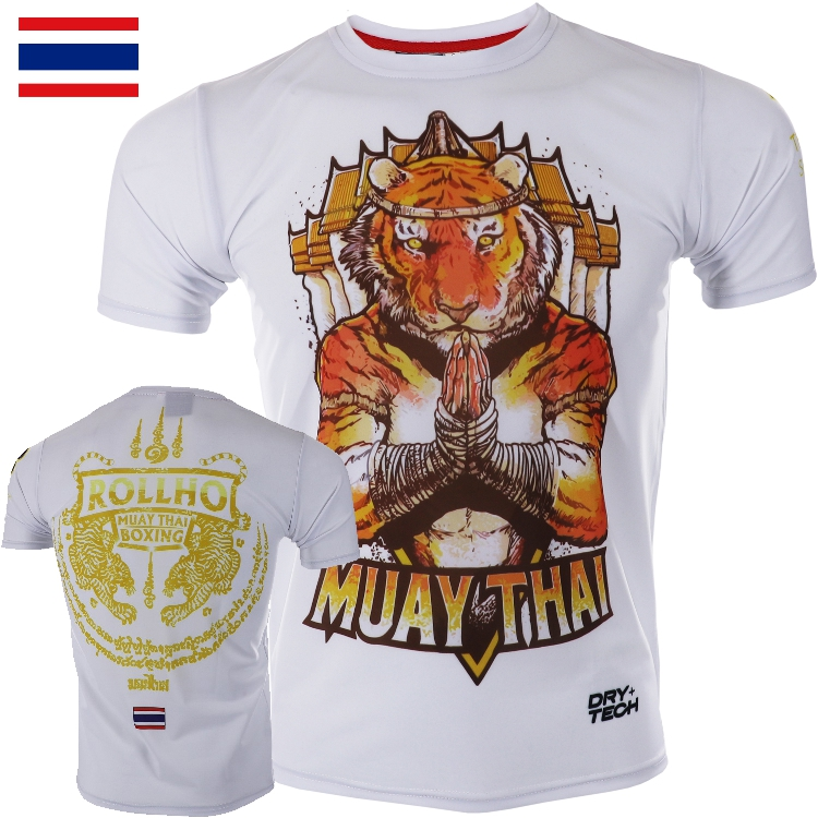 ROLLHO Soft Monkey Fighting Muay Thai  Short Sleeves Broadcast For Tiger Short Sleeves Quick Dry Spring Fight MMA Fitness T-s