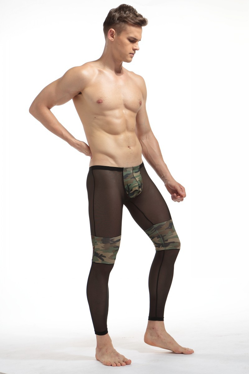 d944c9da73c2c MILLYN Men s Fashion Sexy Transparent Camouflage Tights Breathable  Bodybuilding sheer Mesh pants legging long johns M-XXL