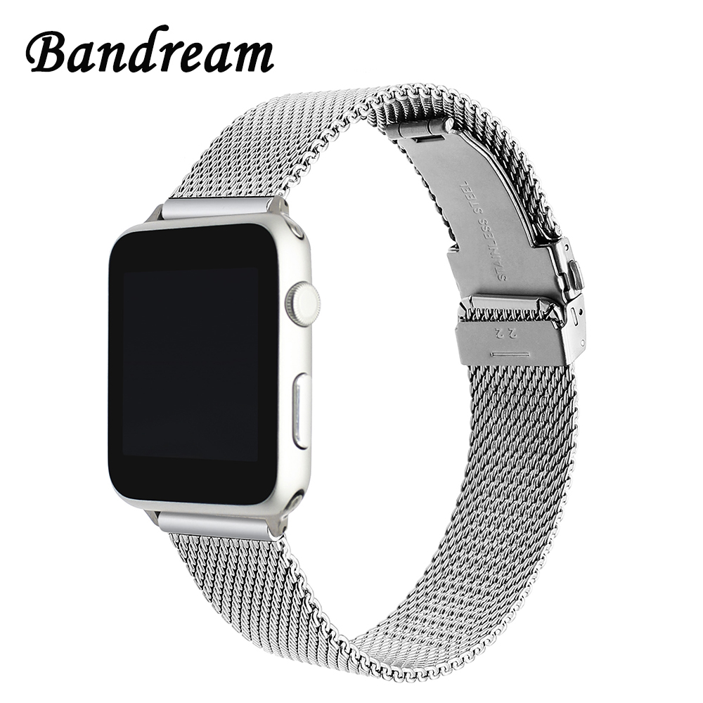 Newest Milanese Watchband Double Button Buckle for iWatch Apple Watch 38mm 42mm Series 1 2 3 Stainless Steel Band Wrist Strap eastar milanese loop stainless steel watchband for apple watch series 3 2 1 double buckle 42 mm 38 mm strap for iwatch band