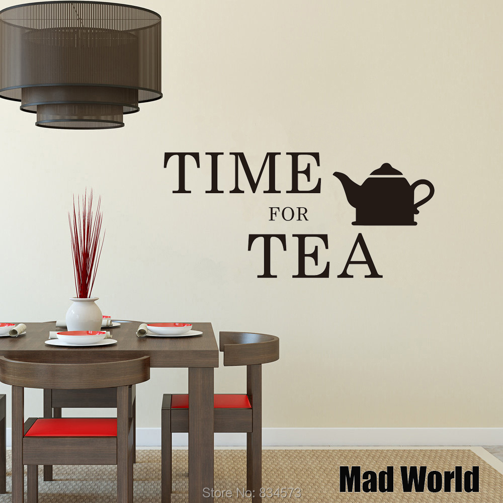 Mad World Time For Tea Kitchen Wall Art Stickers Wall Decal Home DIY Decoration Removable Room Decor Wall Stickers-in Wall Stickers from Home & Garden ...