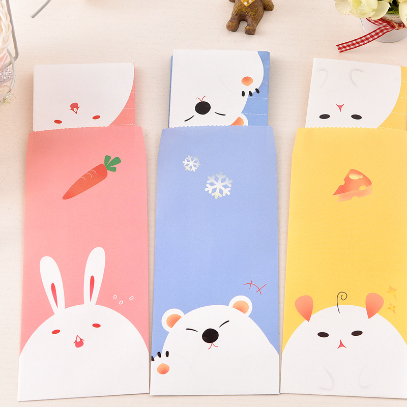 (3 Envelopes+6paper) /set Creative Forest Animals Cartoon Greeting Postcard Birthday Gift Message Card Letter Envelope Gift Card