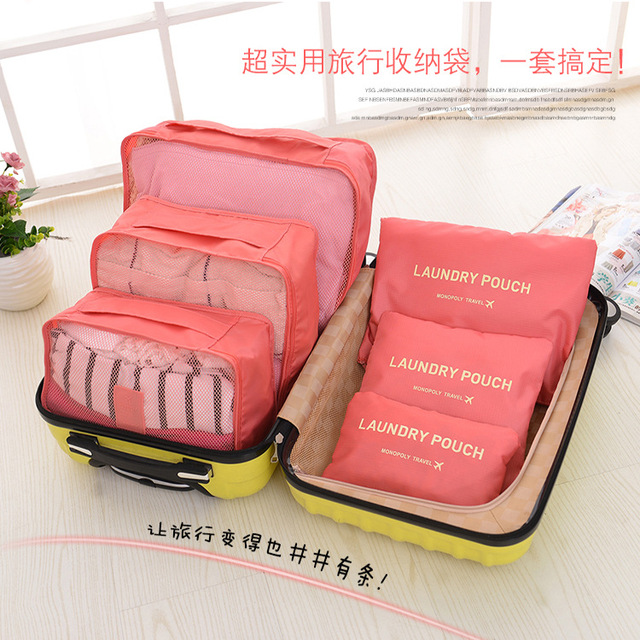 6pcs Set Fashion Double Zipper Waterproof Polyester Men And Women Luggage Travel Bags Ng Cubes