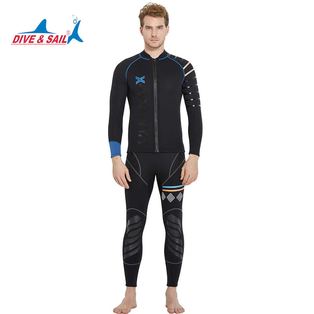 78b6888648 Dive Sail men s 3mm diving wetsuit jackets pants long sleeve diving suit  Scuba Jump Surfing Snorkeling Wetsuits