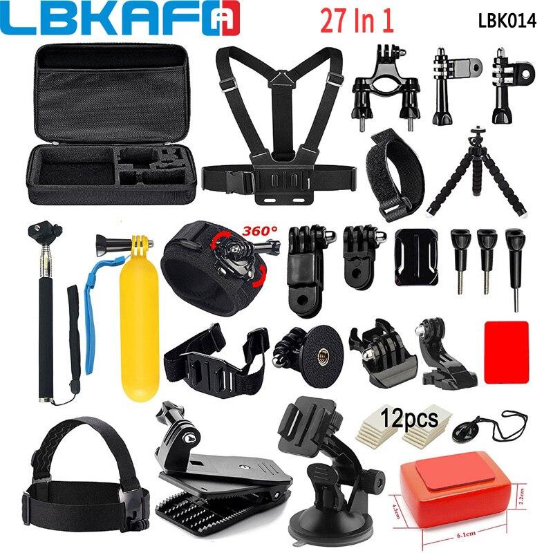 LBKAFA 27 en 1 Kit d'accessoires poignée de flottaison sangle de tête boîte de transport ventouse pour Gopro Hero 6 5 4 3 + SJCAM SJ4000 SJ5000 SJ6