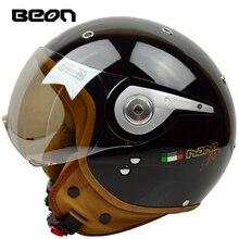 Beon casco de Motocross Vintage para mujer, Media cabeza, capacete, casco para montar