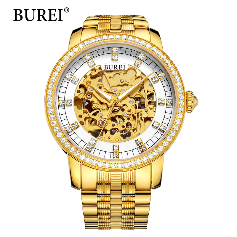 BUREI Top Brand Luxury Special Designer Bezel Gold Skeleton Mechanical Watch Men