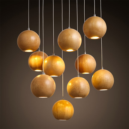 Solid OAK Wood Ball Led Chandelier Modern Japanese Nordic Creative Minimalist Living Dining Room