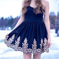 Beautiful 2017 New Sexy Navy Blue Appliques Lace Mini Short Chiffon Women Special occasion Cocktail Party Dress robe de cocktail