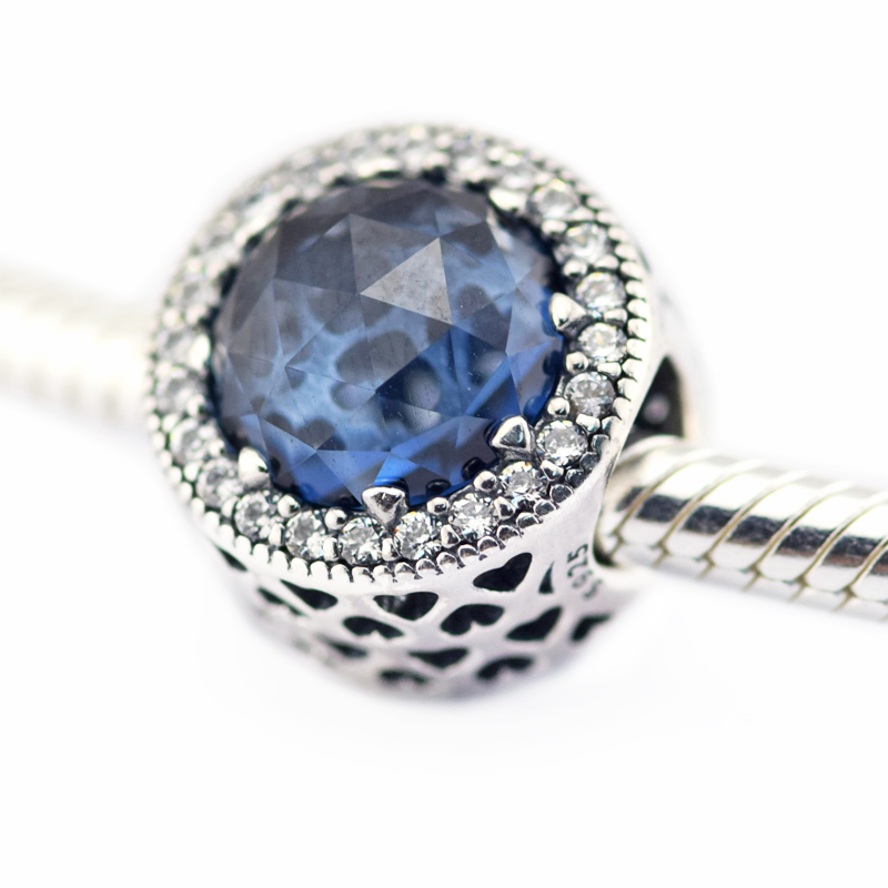Radiant Herzen Mondlicht Blau Kristall & Clear CZ Perle 925 Sterling-Silber-Schmuck Fit Silber Charme Armband DIY schmuck