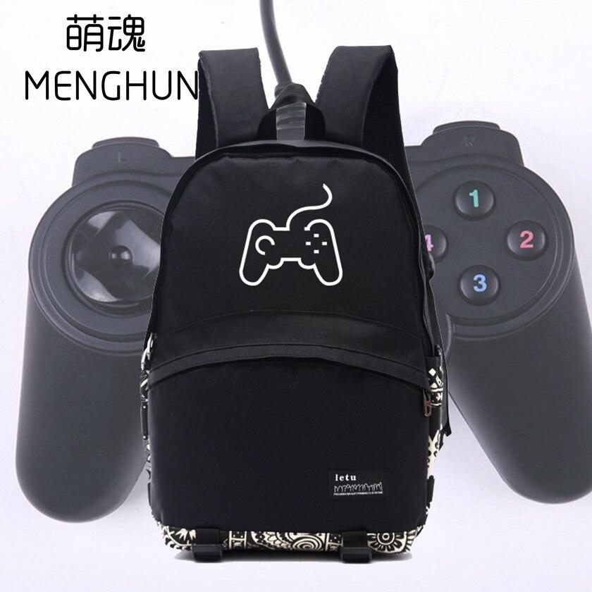 New Simple Design Game Controller Printing Black Nylong Backpack Retro Game Fans Backpacks NB081