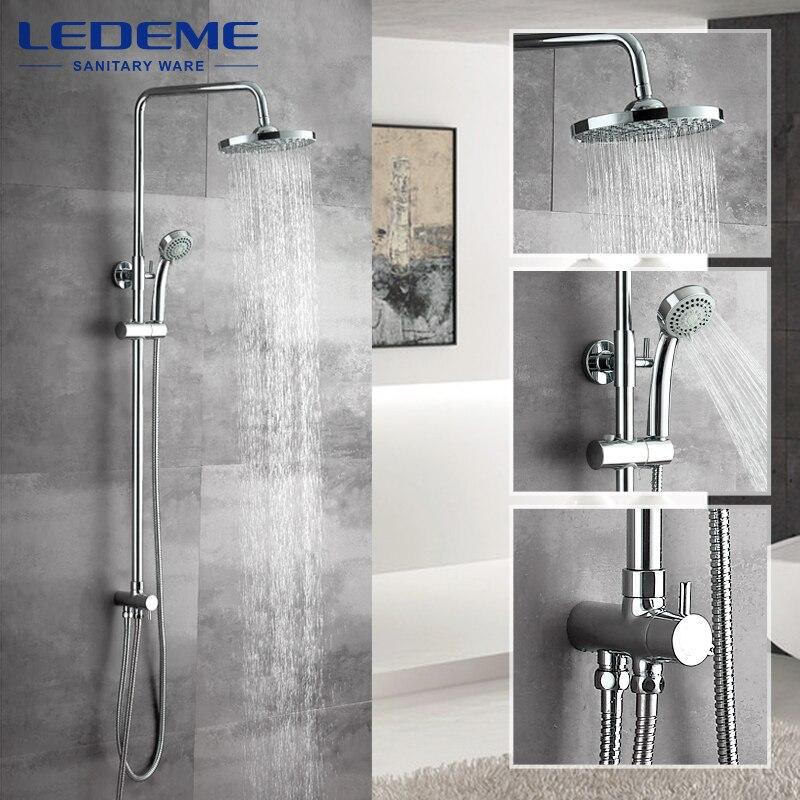 LEDEME nouvelle salle de bain douche classique salle de bains douche robinet de bain mitigeur avec main douche tête ensemble mural L2400