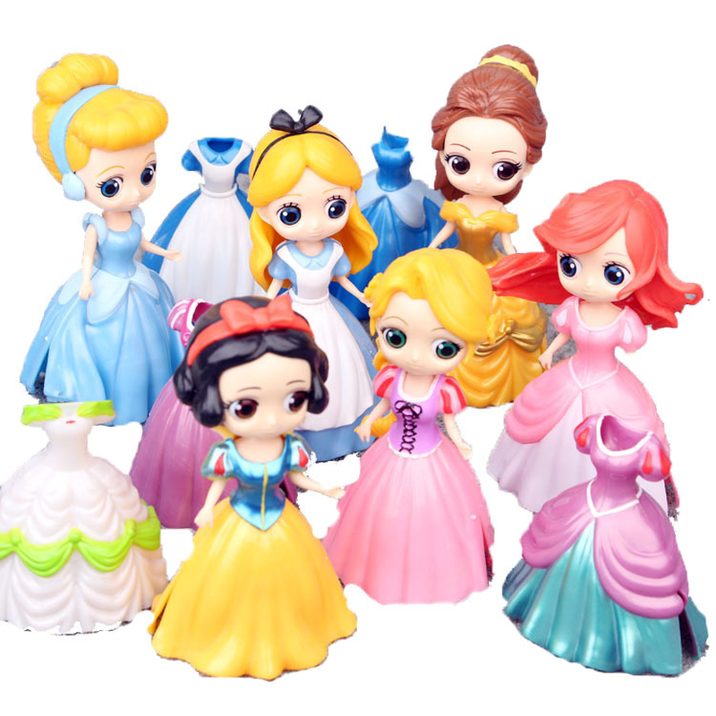 6 Pcs/set Disney Princess Figures Snow White Belle Cinderella Mermaid Ariel Action Figures Disney Toys PVC Model Collection Gift disney 10cm q version snow white princess alice mermaid figure alice in wonderland ariel the little mermaid pvc figure model toy