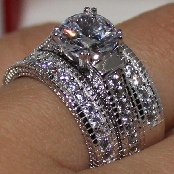 925 Silver Plated Blue Topaz Stone Ring Fashion Women Jewelry Wedding Size 6-10