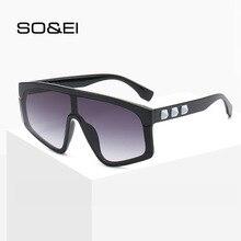SO&EI Oversized Personality Conjoined Lenses Sunglasses Women Small Rhomb Decoration Men Sun Glasses Sunshade UV400 Gafas De Sol