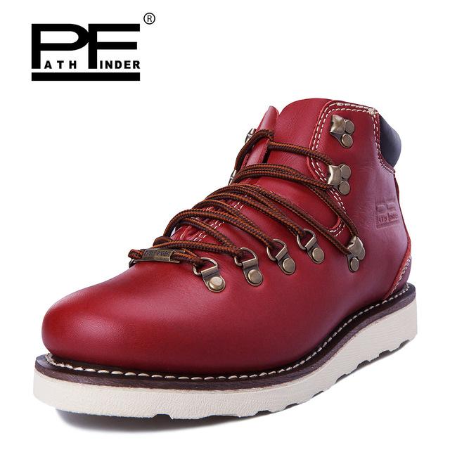 Pathfinder Moda Ao Ar Livre Lazer Martin Botas Genuína Botas de Couro de Vaca Marca Original Design Retro Sapatos para Homens