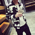 Новый 2016 весна мода цвет блока бейсбол равномерное тонкий куртка подходит мужчины весте homme мужская одежда Большой размер м-5xl / JK6
