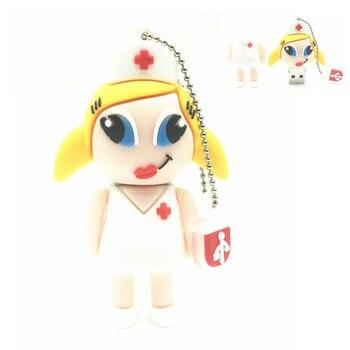 Real capacity Cute cartoon flash memory silicone white nurse usb flash drive 4gb 8gb 16gb 32gb pendrive usb memory stick