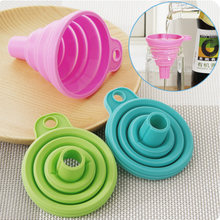 1PC Silicone Colander Mini Foldable Funnels Hopper Cooking Gadgets Useful Tool DIY Kitchen Accessories High Quality(China)