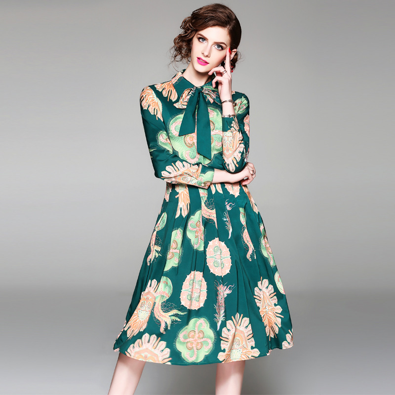 Plus Size Dress Women Summer Dress Bow Neck Vintage Boho Long Maxi Floral National Dress Chiffon Beach Dress Floral Sundress